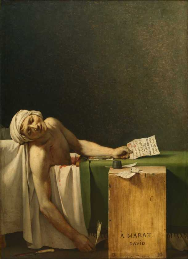 The Death of Marat by Jacques-Louis David used cheaply here to illustrate how I feel about my own writing,..