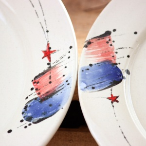 double detail on a couple of rimmed plates